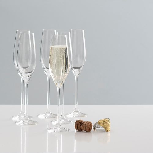 Beaumont Set of 6 champagne flutes, 210ml, Clear Crystal