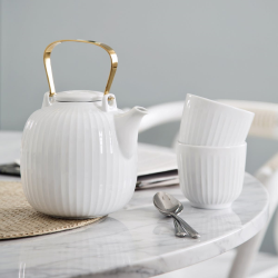 Hammershoi Teapot, H15 x W14.5cm - 1.2 litre, White