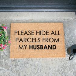 Please Hide all Parcels From Husband Doormat, L60 x W40 x H1.5cm, Black