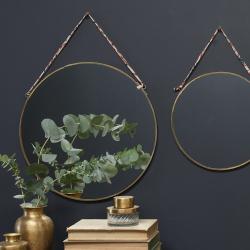 Kiko Large round mirror, Dia 38cm, Brass