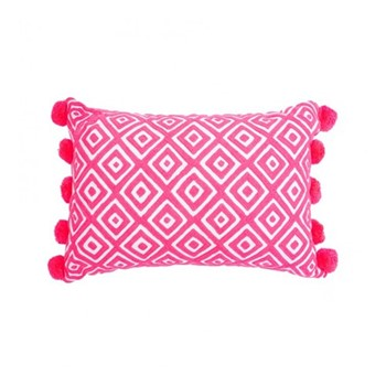 Kabuki Rectangular cushion with pompoms, L50 x W35cm, coral/white