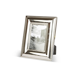 """Beaded Edge Photograph frame, 4 x 6"""", Stainless Steel And Glass"""