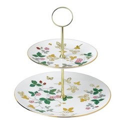Wild Strawberry 2 tier cake stand, white/gold