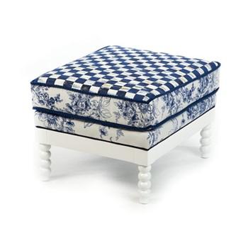 Indigo Outdoor ottoman, W63.5 x H45.72 x W53.34cm, blue & white