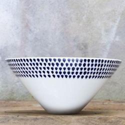 Indigo Drop Serving bowl - medium, 12 x 25cm, Cream And Indigo