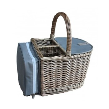 Antique Wash 2 bottle beach hamper, L30 x W27 x H24cm, antique wash