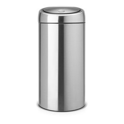 Twin touch recycle bin, silent, 20/20 litre - H72 x D37cm, matt steel with fingerprint proof lid