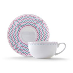 Wave Cappuccino cup and saucer, H7.5 x D11cm, pink/turquoise