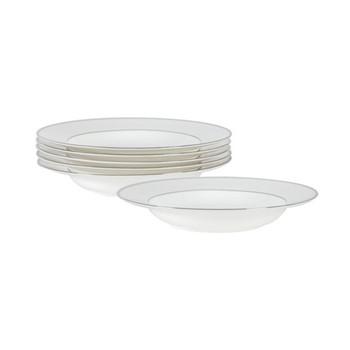 Fenton Set of 6 soup plates, D21.9 x H3.3cm, white/platinum