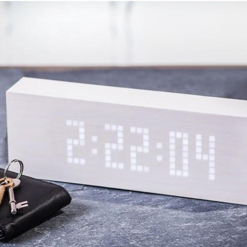Message clock, L25 x W4.5 x H9cm, White/White