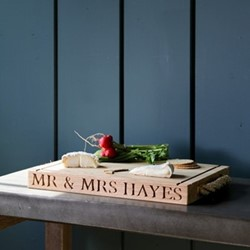 Personalised thin rectangular board with rope handles, 40 x 30 x 3.5cm, oak