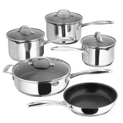 7000 5 piece draining saucepan set, 16-26cm, stainless steel