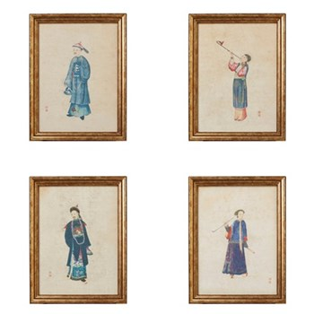 Chinese Piper Set of 4 framed prints