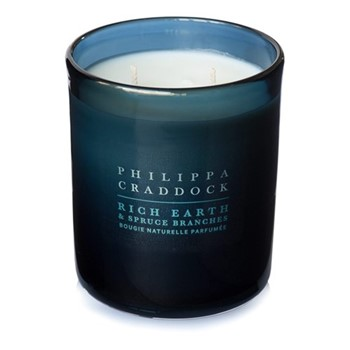 Rich Earth & Spruce Branches 2 wick candle, H10 x W9cm, blue