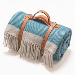Herringbone Picnic blanket, 130 x 200cm, turquoise wool