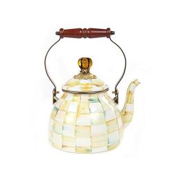Parchment Check Tea kettle, 2.3L, cream