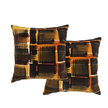 Abstract Check Double sided cushion, L50 x W50cm, ochre
