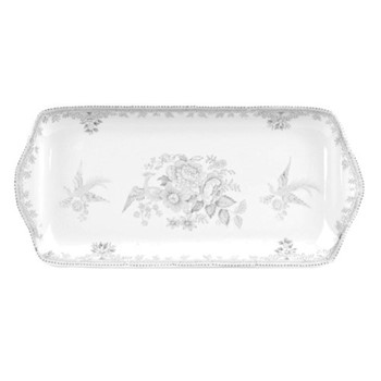 Dove Grey Asiatic Pheasants Rectangular tray, 28cm, grey/white