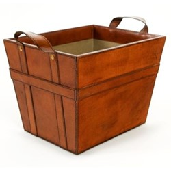 Two handled magazine basket, H38 x W29 x D27cm, conker brown