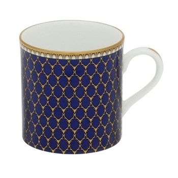 Antler Trellis Mug, H8.4 x D7.6cm, midnight blue and gold