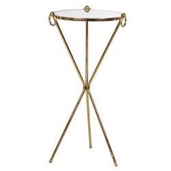 Glass cross side table, 77 x 39cm, gold