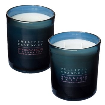 Cutting Garden & Hedgerow/Bosk & Herb Garden Pair of 2 wick candles, H10 x W9cm, blue