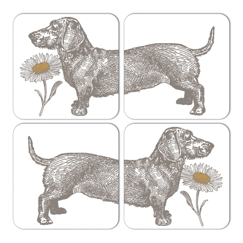 Dog & Daisy Set of 4 coasters, 10 x 10cm