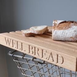 Personalised rectangular slatted bread board, 40 x 30 x 4.5cm, oak