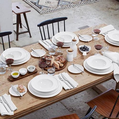 Artesano Set of 3 dip bowls on wooden tray, White
