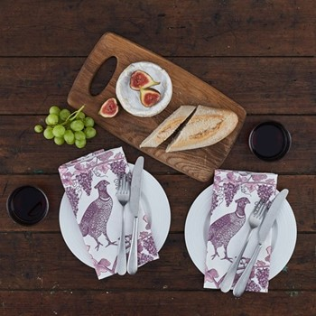 Pheasant & Vine Set of 4 napkins, 45 x 45cm, white/soft pink/dusty purple