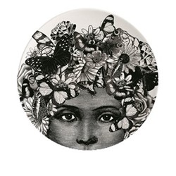 Butterfly Lady Plate, Dia20cm, black/white