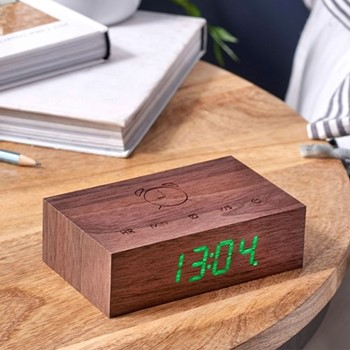 Flip Click Clock, L11.5 x W7 x H3.6cm, walnut