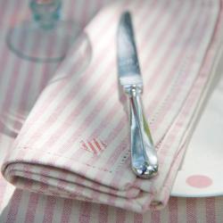 Rose and Ivory Stripe Set of 4 napkins