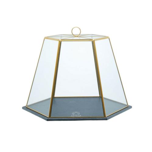 Serving cloche, H31 x W27.5 x D25cm, Slate/Glass/Brass