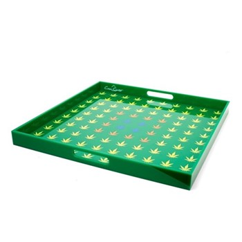 Leaf Large acrylic serving tray, 35 x 35cm, green