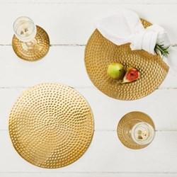 Pair of round placemats, 23cm, flat hammered, stainless steel, gold