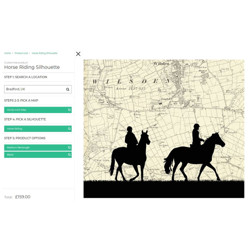 Riding Framed silhouette image with personalised map, 43 x 48cm, black frame