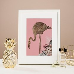 Flamingo Mounted print, 32.5 x 43cm, white frame