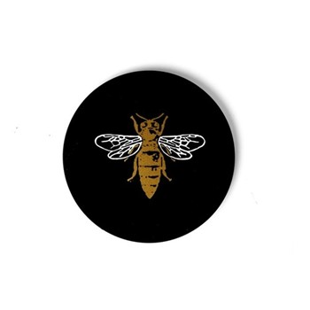 Bee Set of 4 coasters, W10.16 xD10.16cm, black