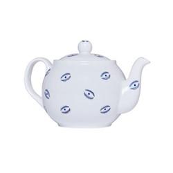 Eye Teapot, 1.1 litre, white and blue