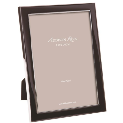 """Enamel Range Photograph frame, 8 x 10"""" with 15mm border, Black With Silver Plate"""