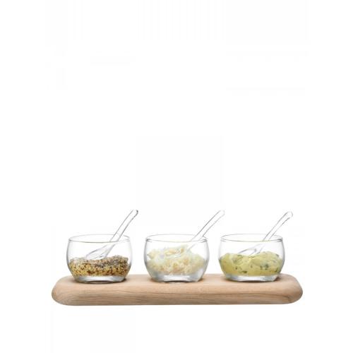 Serve Condiment set and oak base, L25.5cm, clear
