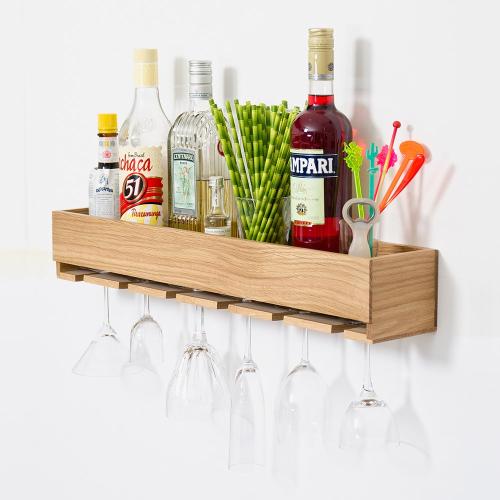 Cookhouse Glass holder shelf, H9.5 x W61 x D11cm, Natural Oak