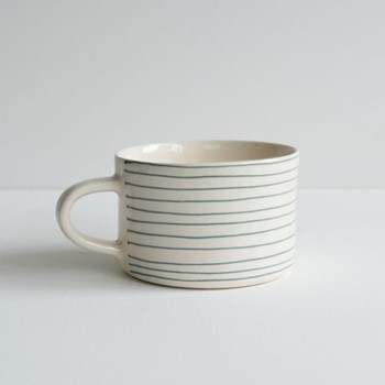 Horizontal Stripe Set of 6 mugs, H7 x W10.5cm, dove grey
