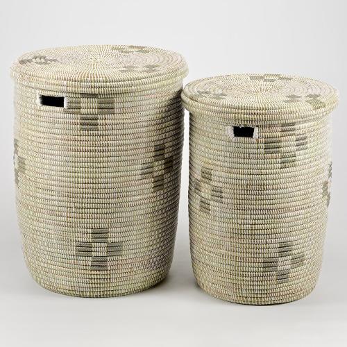 La Brise Large laundry basket with flat lid, 53 x 38cm, Dusk