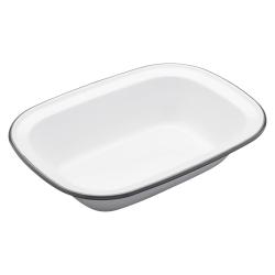 Living Nostalgia Rectangular pie dish, 26cm, white enamel