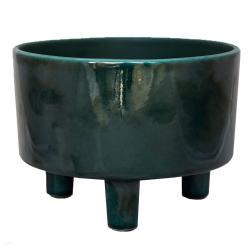 Pisa Bowl planter, H14 x W19 x D19cm, emerald