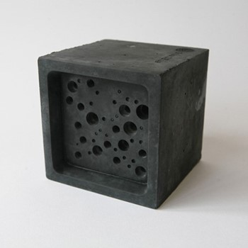 Bee Block Large bee house, 10.5 x 10.5 x 10.5cm, charcoal