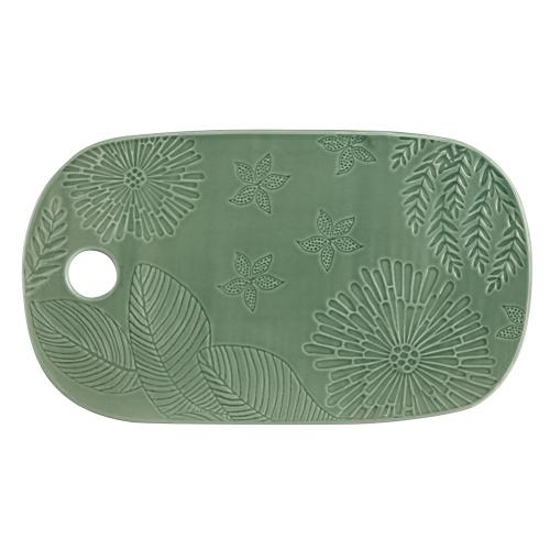 Panama Panama Stoneware Oblong Cheese Platter Kiwi Gift Boxed, Green