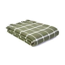 Chequered Check Throw, L150 x W183cm, olive